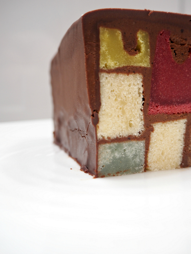 Mondrian cake, modern art, Dutch painting