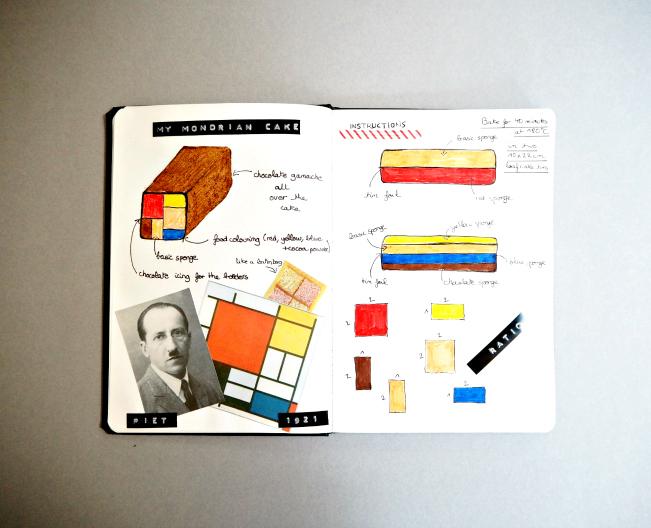 Mondrian cake, art, modern, moodboard