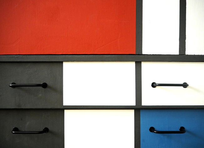 Mondrian chest of drawers, desk, furniture, painting, modern art, Dutch painter